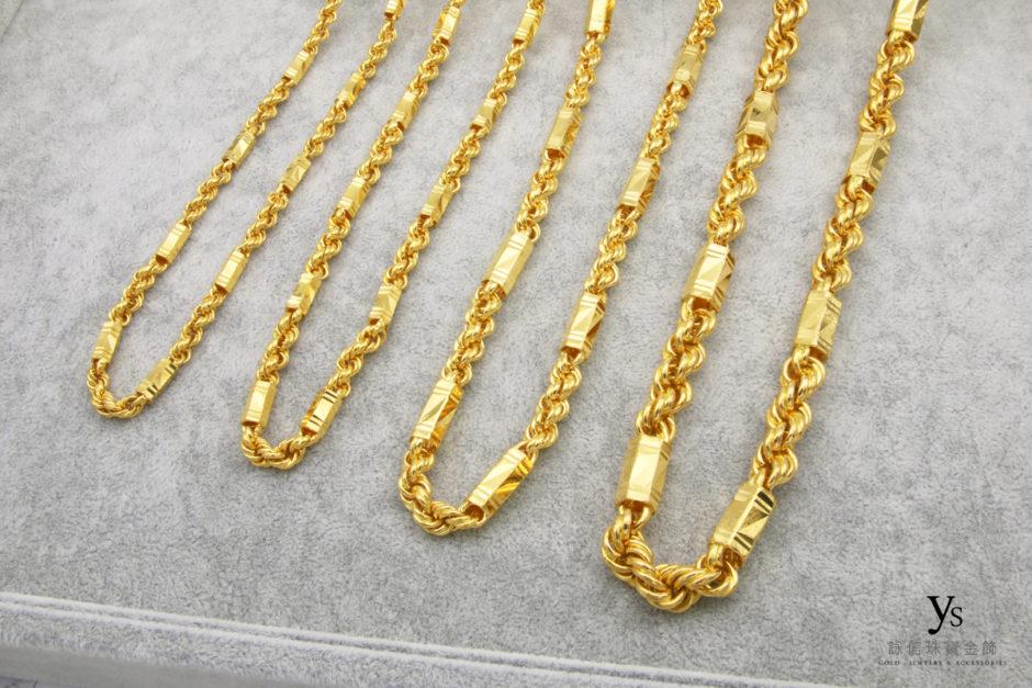 六角麻花黃金項鏈