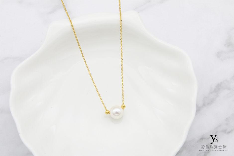 珍珠黃金項鏈86116