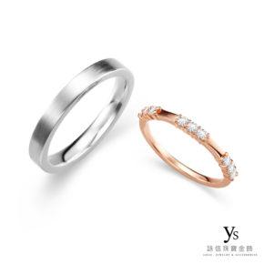 結婚對戒-極簡素面鉑金、玫瑰金結婚對戒