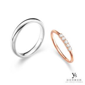 結婚對戒-鉑金素面男戒、玫瑰金線戒