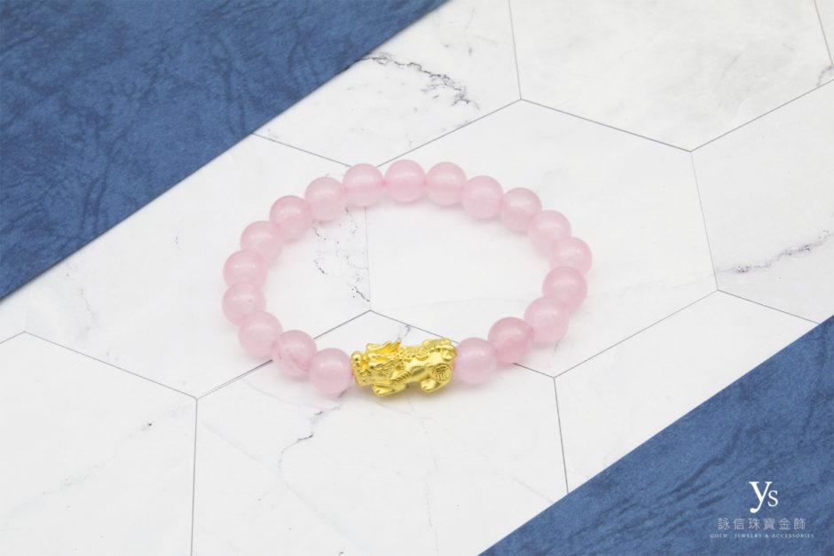 黃金貔貅手鏈-粉紅瑪瑙