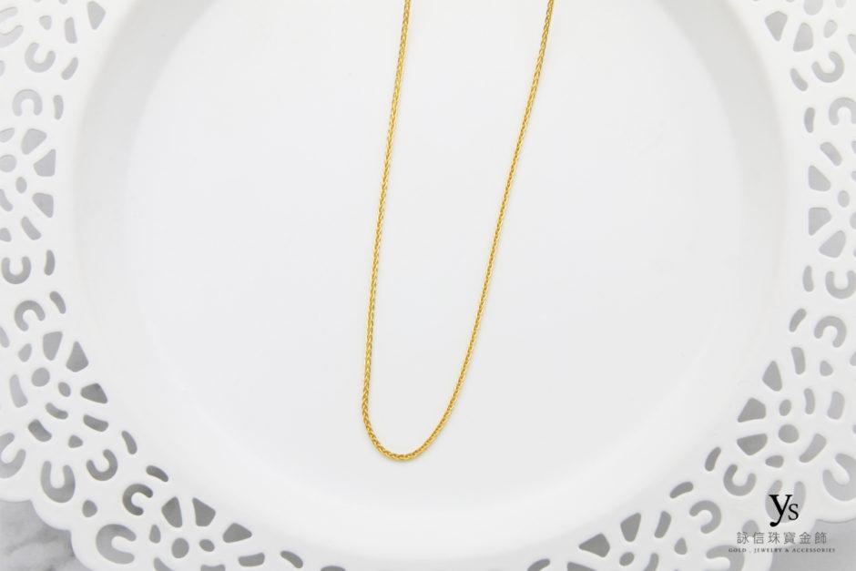 女生素面黃金項鍊