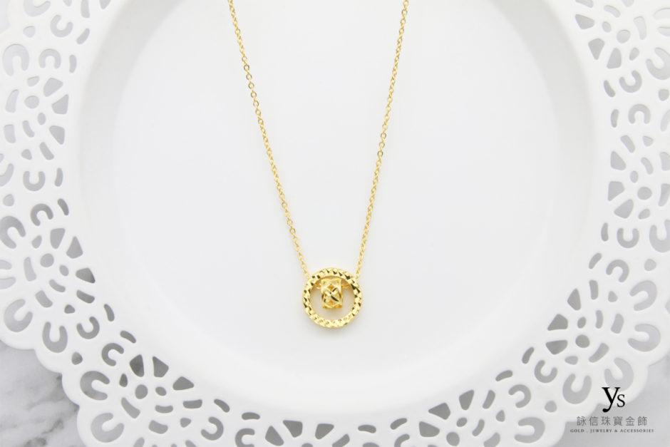 女生黃金項鏈-轉運金輪小套鍊