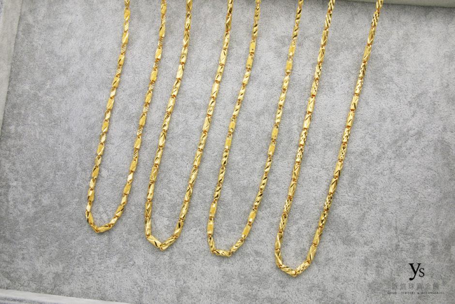 管狀亮面刻花黃金項鍊