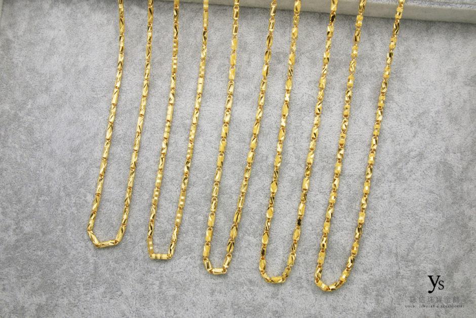 管狀刻花黃金項鍊
