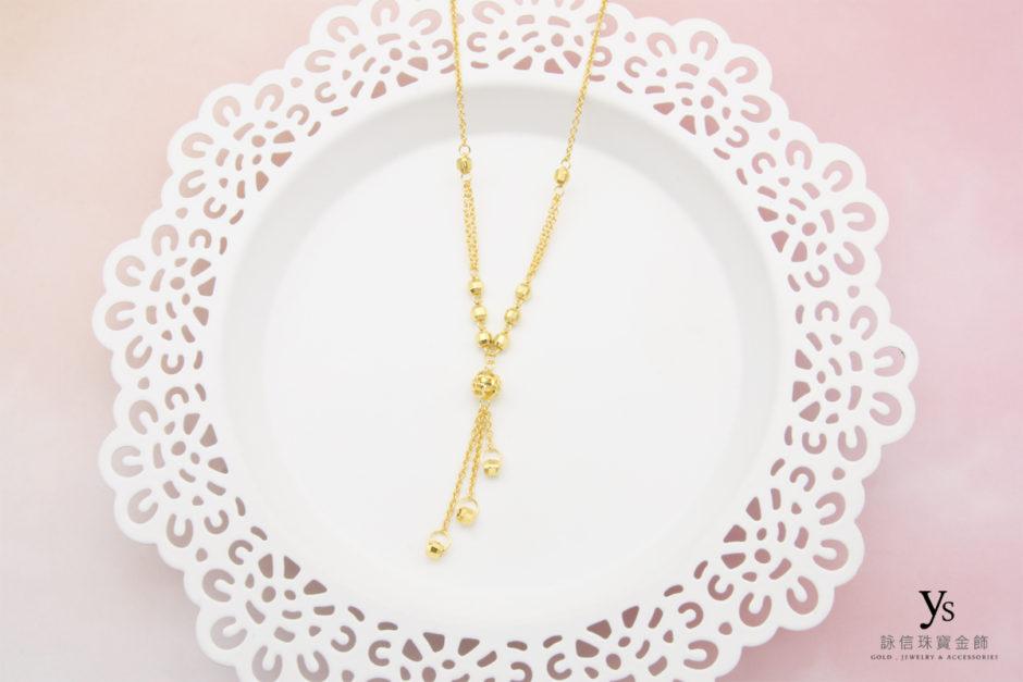 黃金小套鍊-流蘇線條黃金項鍊