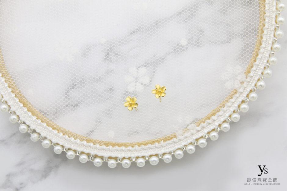 黃金耳環-小花黃金耳環