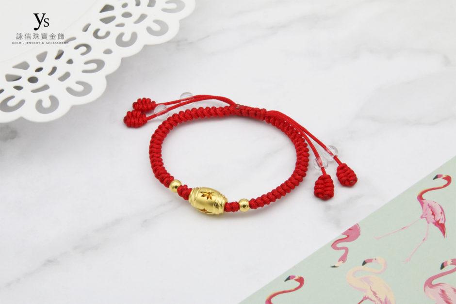 彌月金飾-中國結金珠黃金手繩