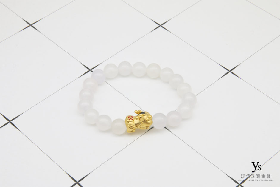 白瑪瑙黃金貔貅手珠