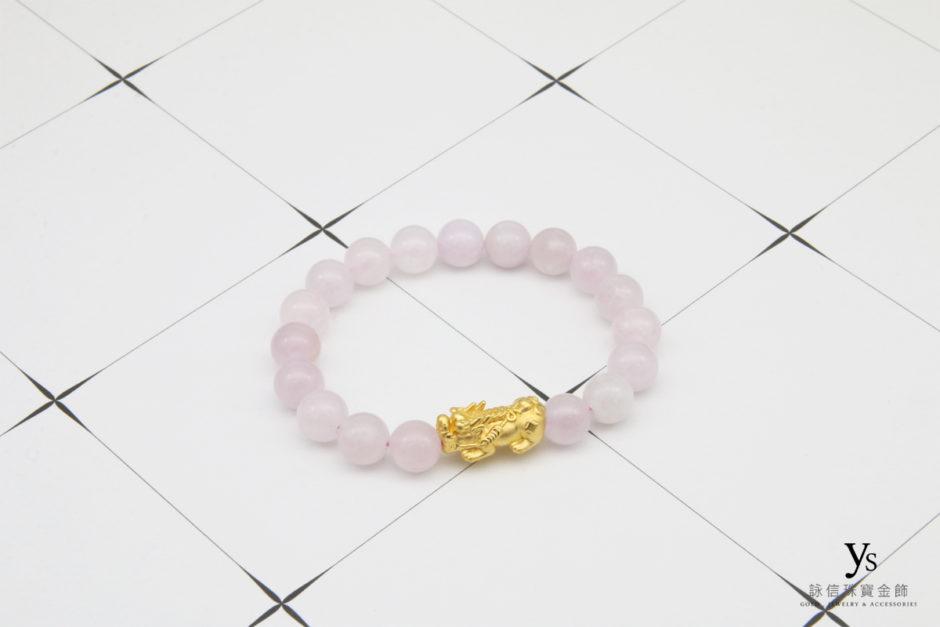 粉紫瑪瑙黃金貔貅手珠