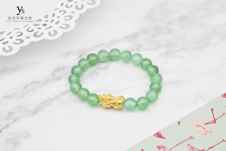 綠瑪瑙黃金貔貅手珠