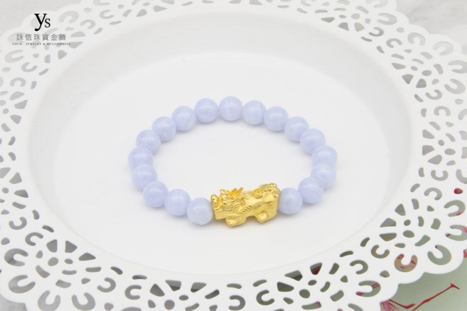 藍紋石黃金貔貅手珠