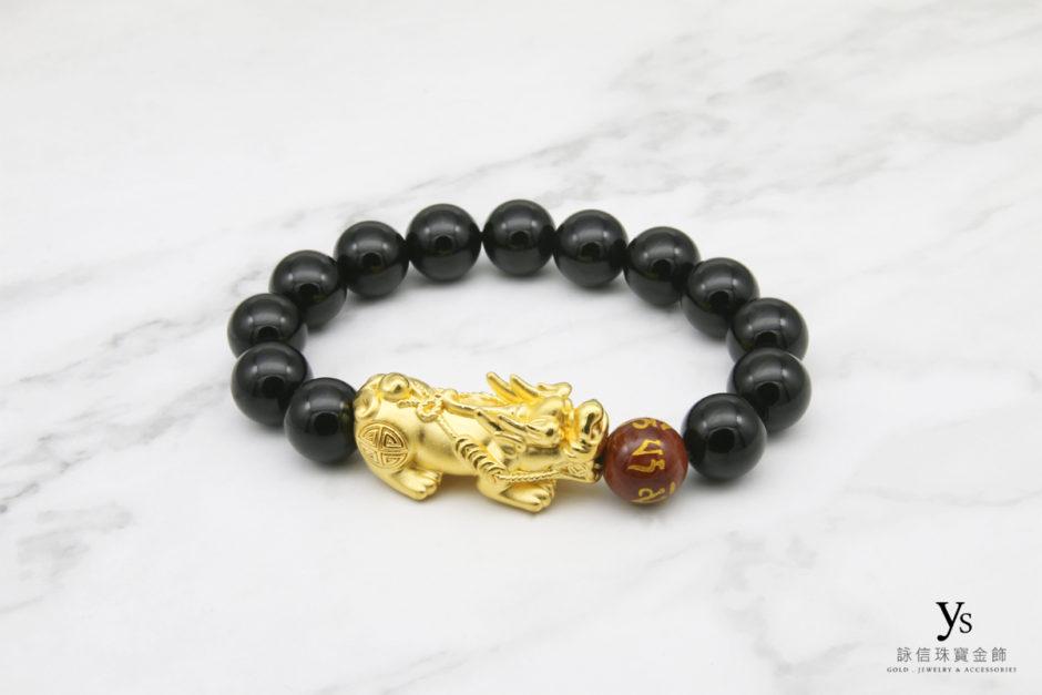 黑瑪瑙六字真言黃金貔貅手鏈