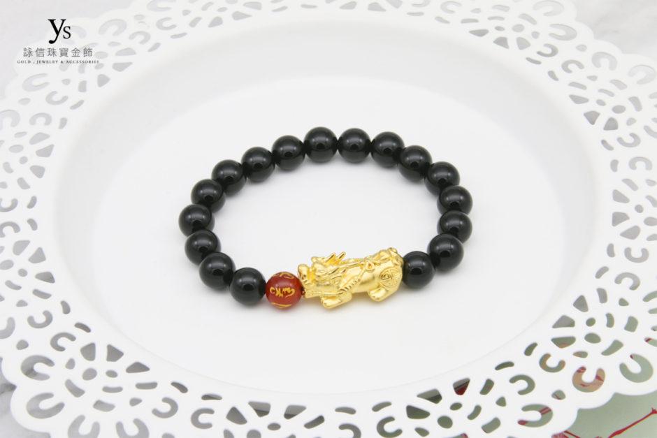 黑瑪瑙黃金貔貅手珠