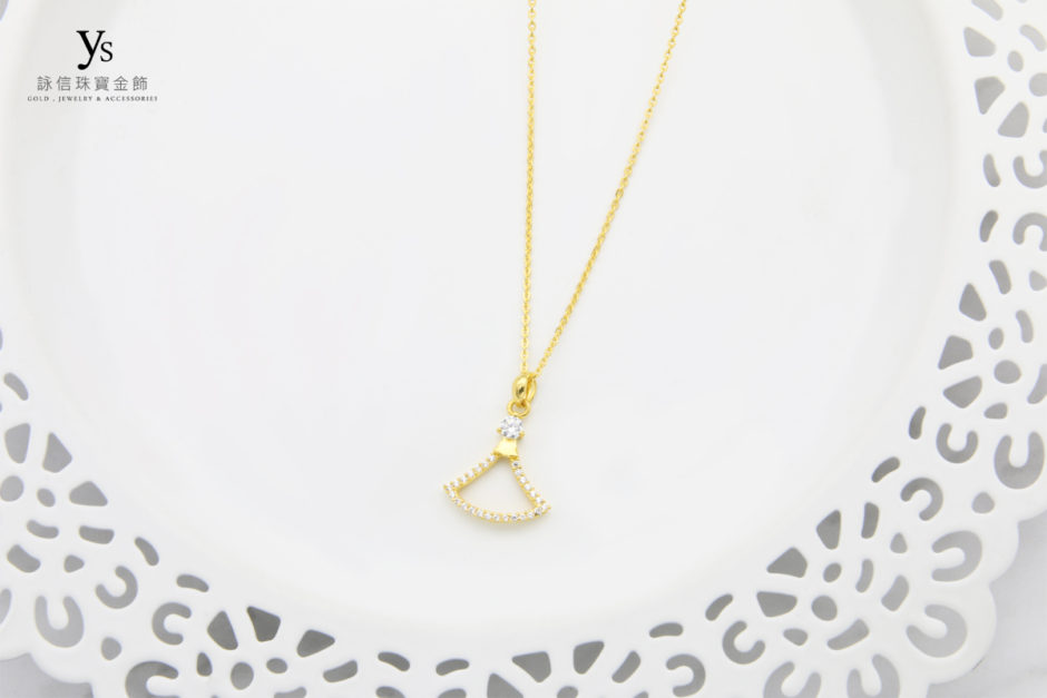 女生黃金項鍊-扇形黃金墜