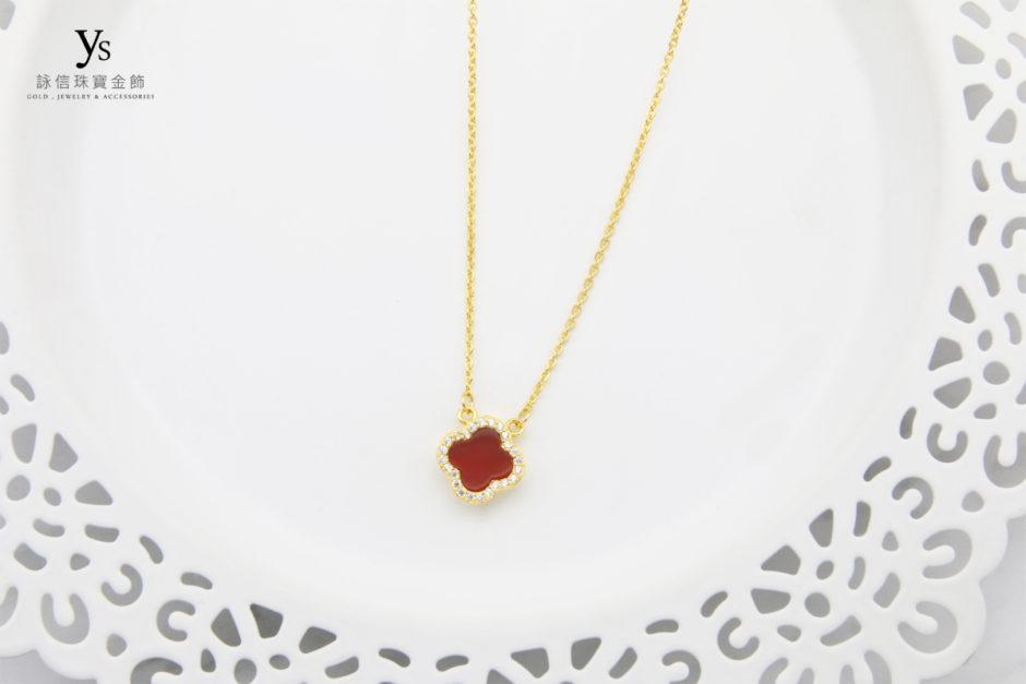 女生黃金項鍊-紅瑪瑙黃金項鏈