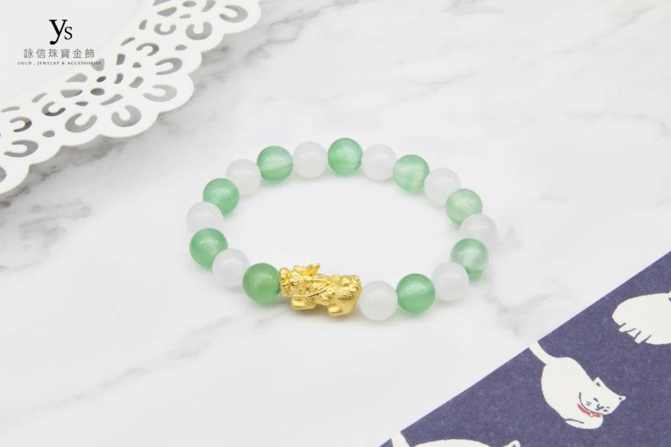 白瑪瑙、綠瑪瑙黃金福字手珠
