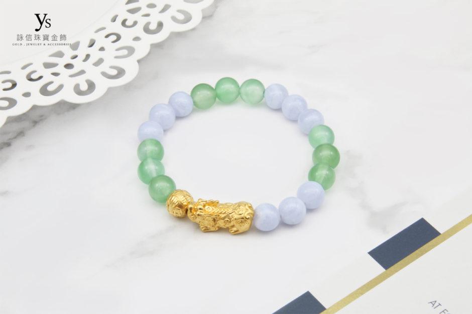 綠瑪瑙、藍紋石撞色黃金貔貅手珠