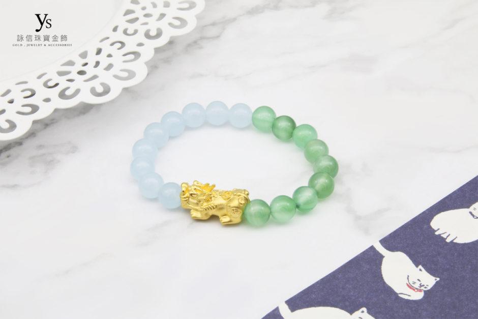 藍瑪瑙、綠瑪瑙撞色黃金貔貅手鍊