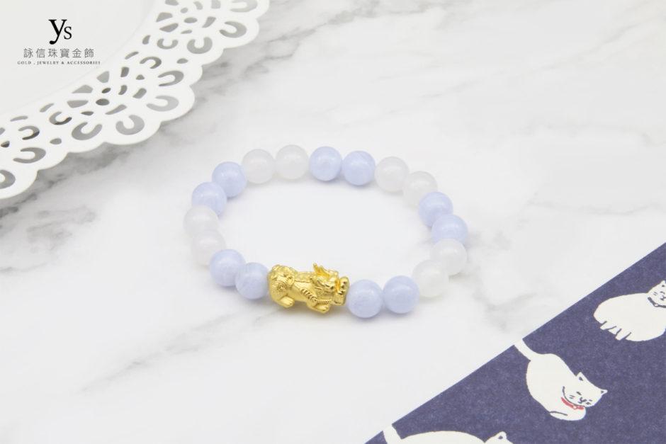 藍紋石、白瑪瑙撞色黃金貔貅手珠
