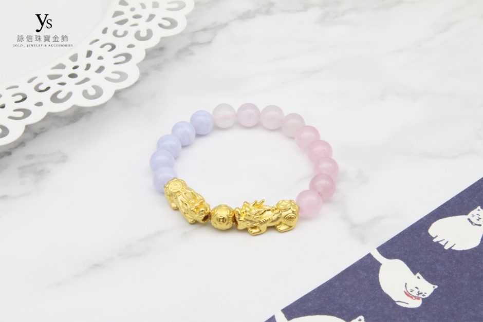 藍紋石、粉紅瑪瑙撞色黃金貔貅手珠