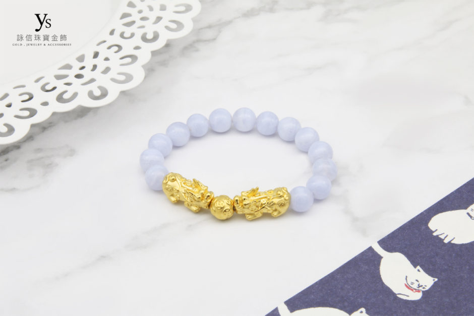 藍紋石雙黃金貔貅手鍊