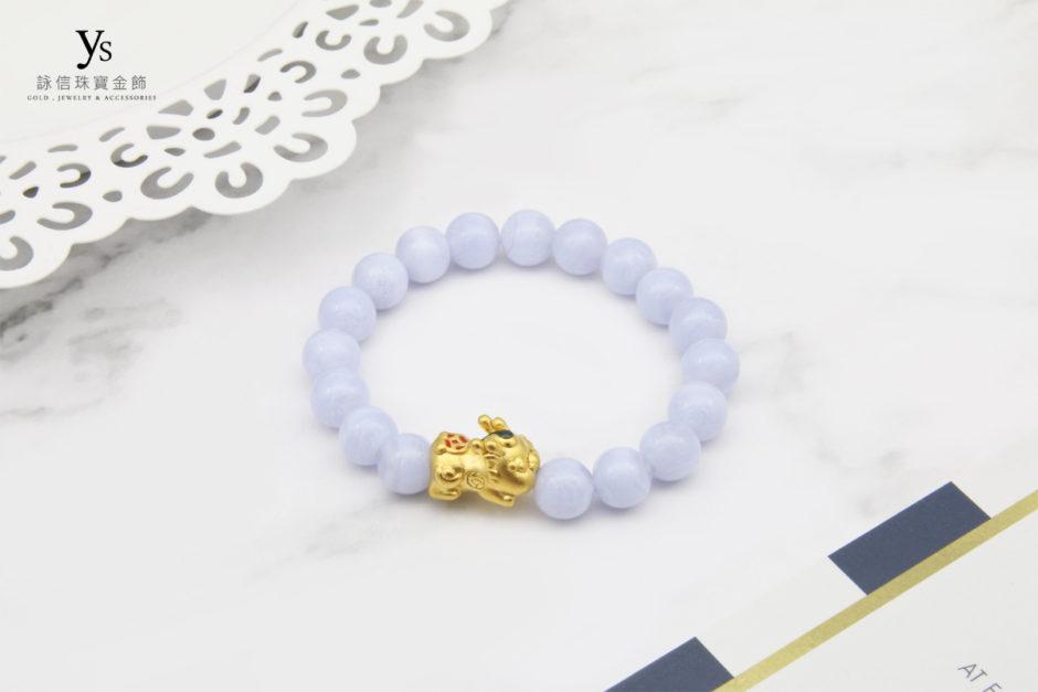 藍紋石黃金貔貅寶寶手鏈