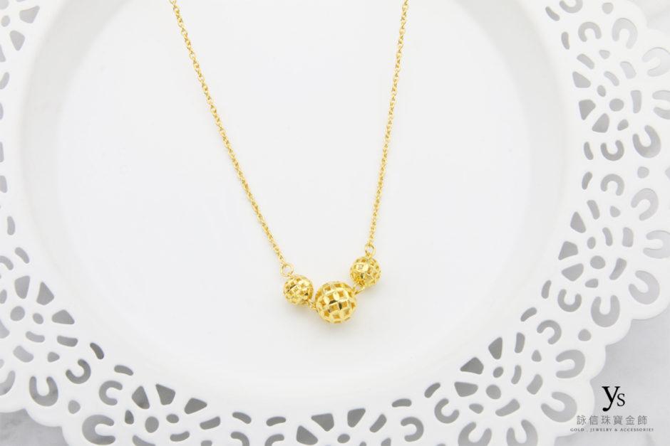黃金套鍊-亮面刻花金珠黃金項鍊