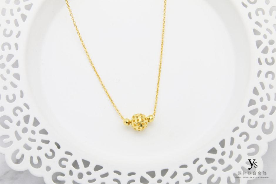 黃金套鍊-亮面金珠黃金項鍊