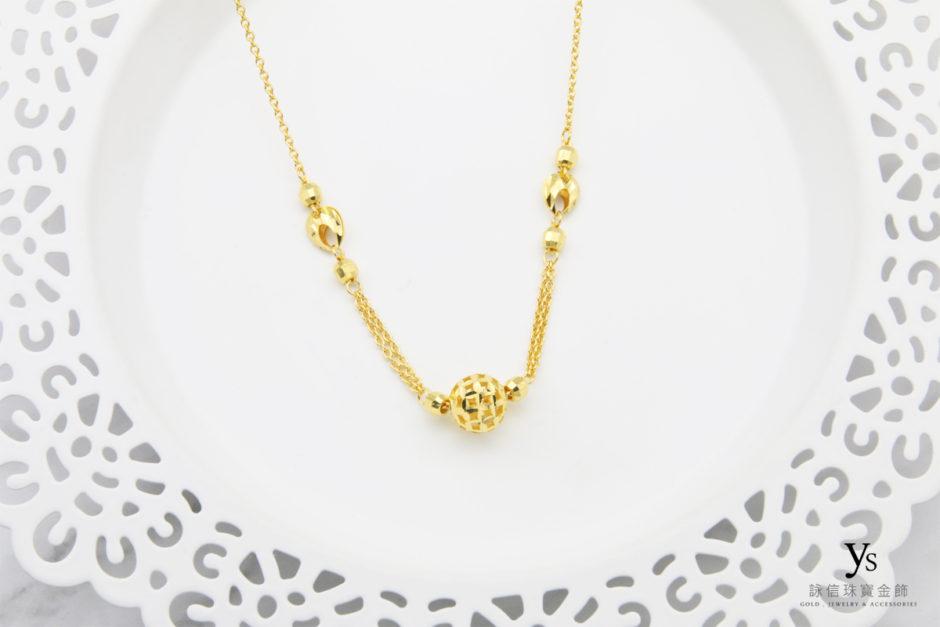 黃金套鍊-電刻亮面金珠黃金項鍊