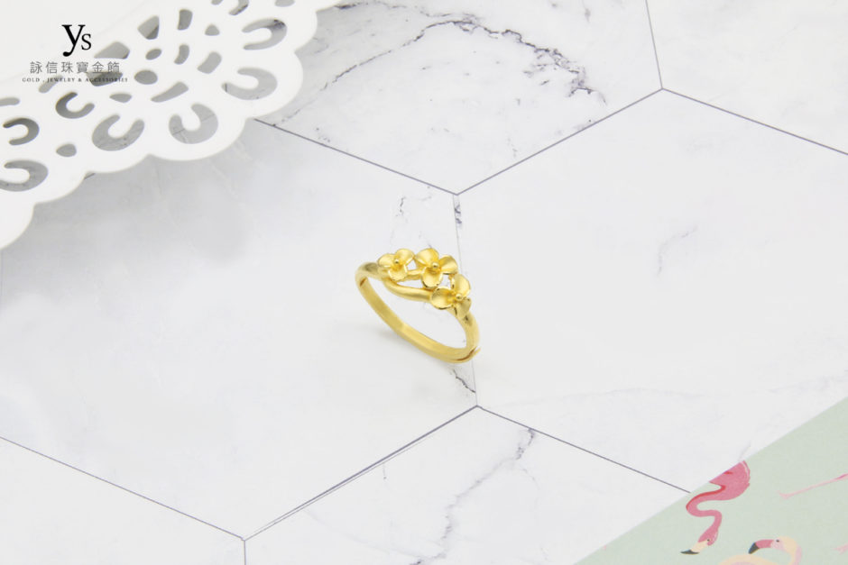 黃金戒指-黃金花戒