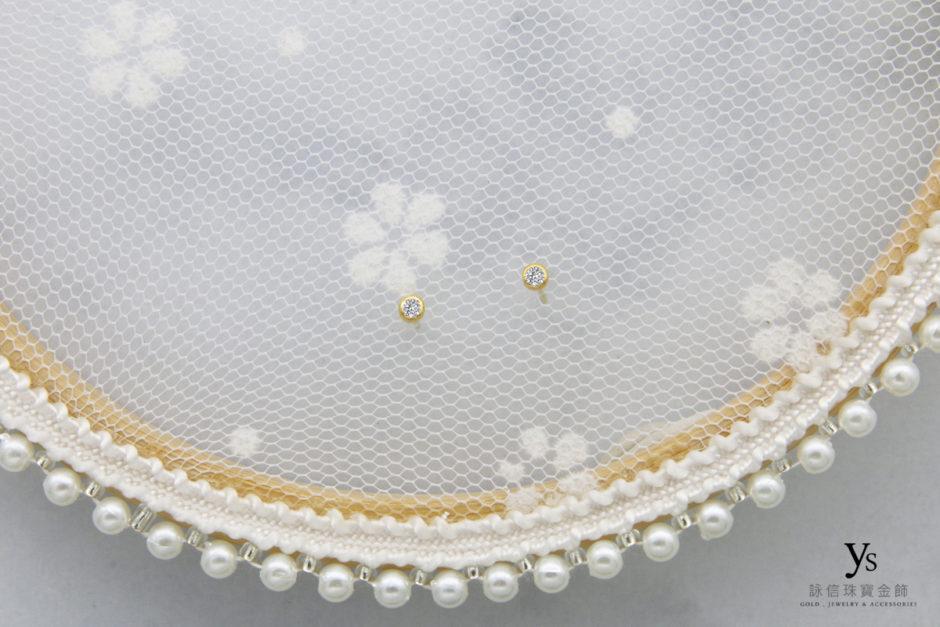 黃金耳環-單鑽純金耳針