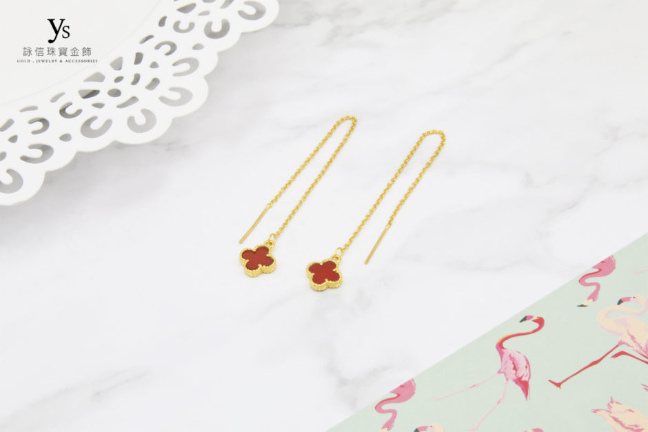 黃金耳環-紅瑪瑙四葉草垂墜黃金耳環