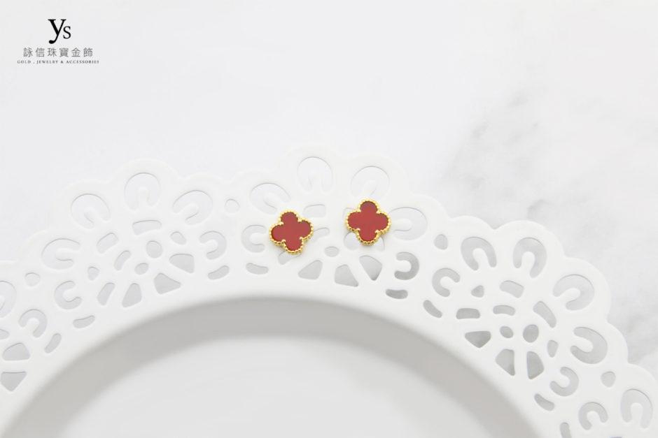 黃金耳環-紅瑪瑙四葉草黃金耳環