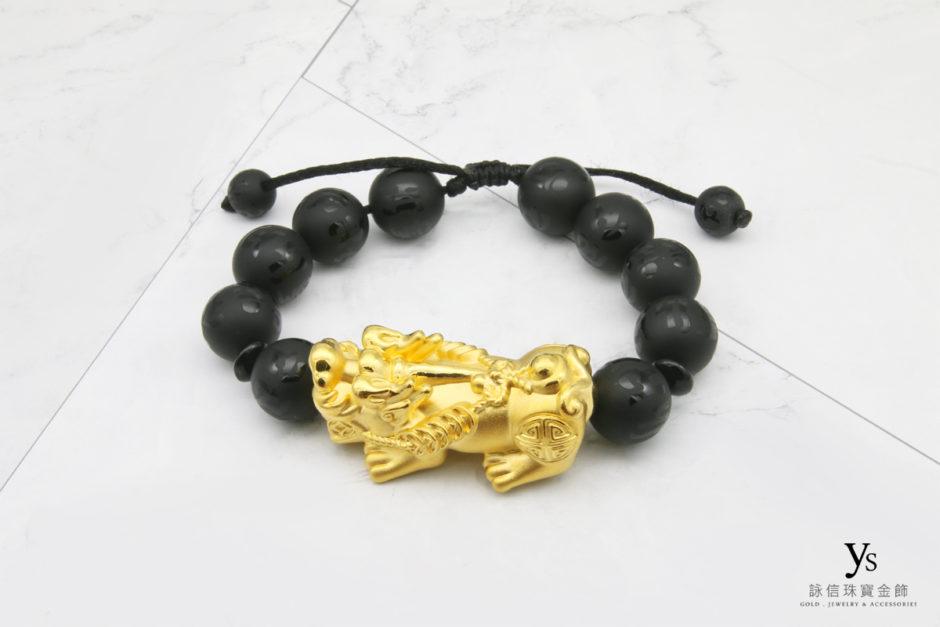 黑瑪瑙霸王黃金貔貅手珠