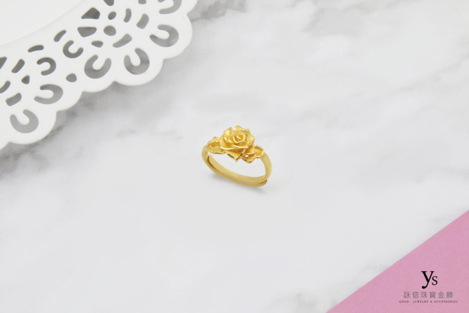 女生黃金戒指-小花黃金戒指