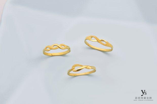 女生黃金戒指-線條黃金戒