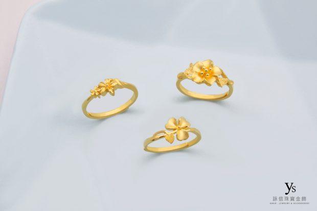 女生黃金戒指-花朵造型黃金戒
