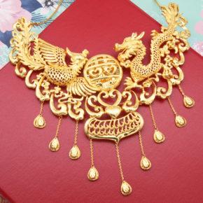 結婚金飾新款到貨-香港龍鳳項鍊、耳環
