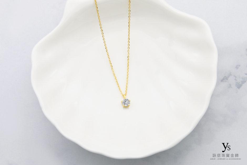 女生純金項鍊-五爪單鑽黃金項鍊