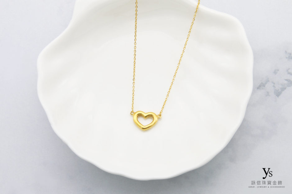 女生純金項鍊-愛心黃金項鍊