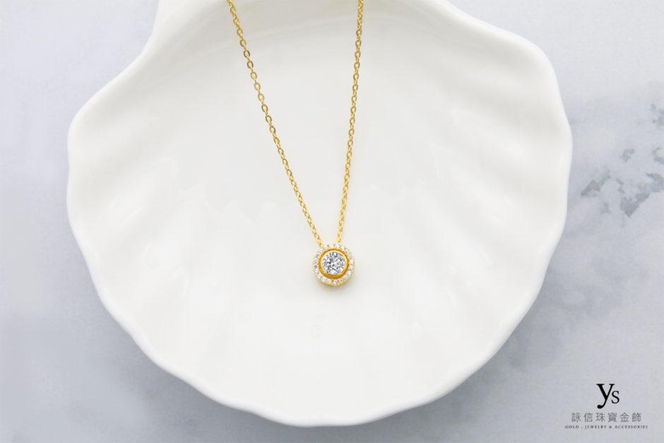 女生黃金項鏈-環鑽純金項鍊