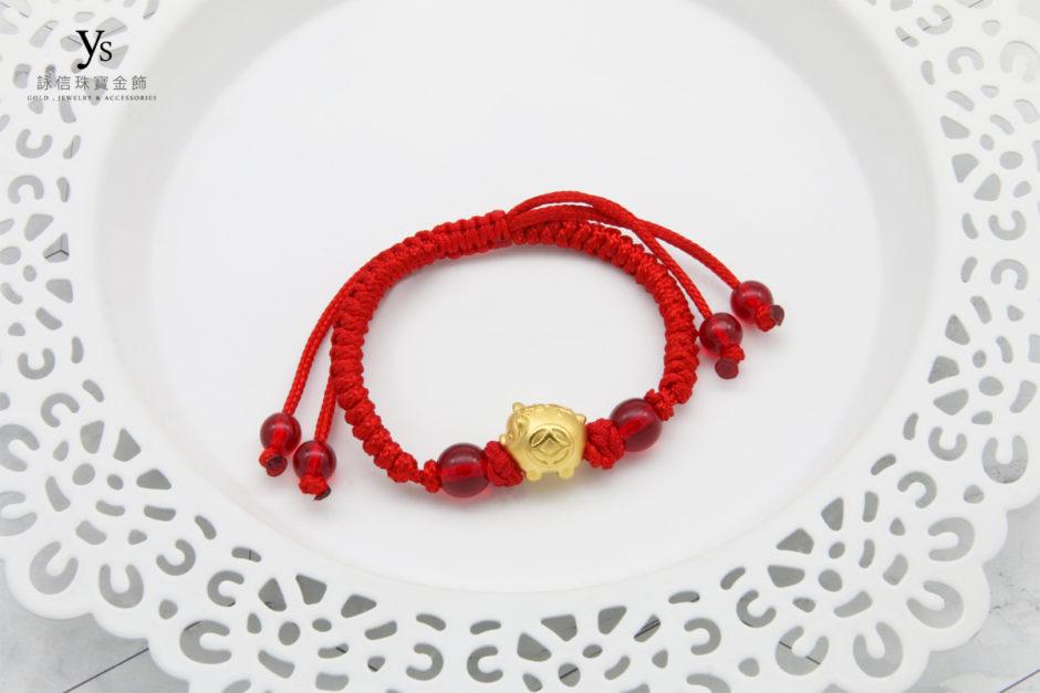 彌月金飾-生肖豬黃金手繩