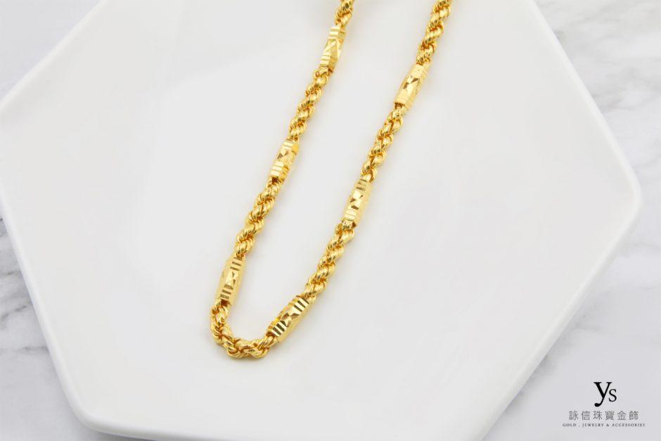 男生黃金項鏈-一兩六角麻花黃金項鍊