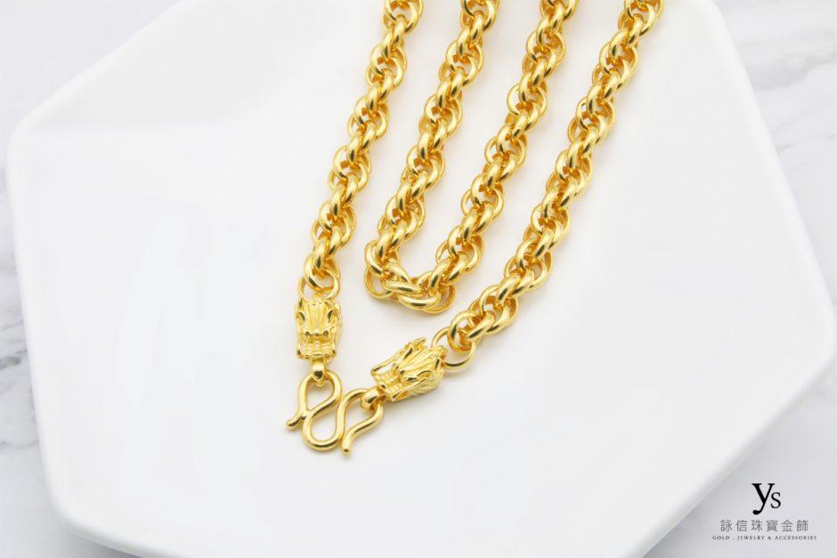 男生黃金項鏈-雙龍麻花黃金項鍊