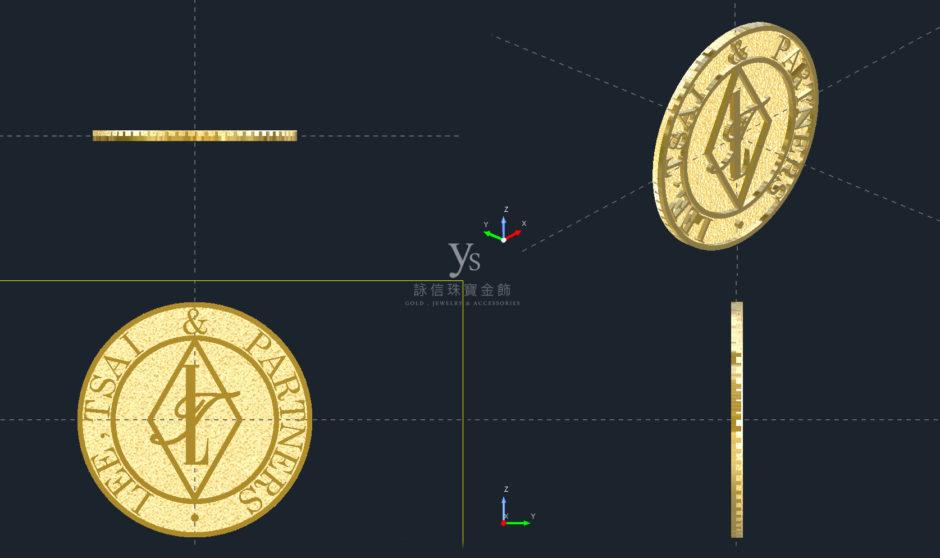 黃金胸章訂做-3D圖