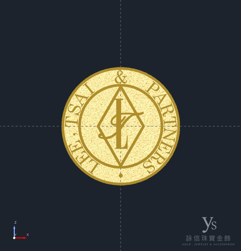 黃金胸章訂做-3D擬真圖