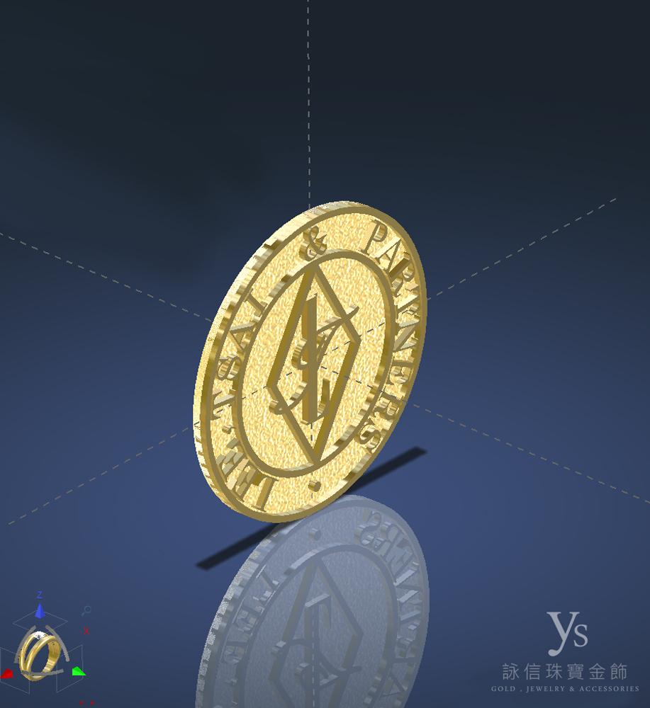 黃金胸針訂做-3D圖