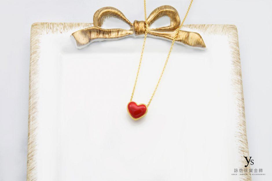 黃金項鏈-紅色愛心黃金項鍊