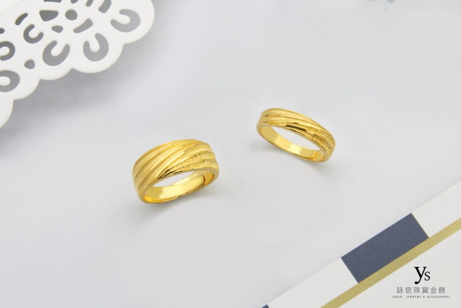 黃金對戒-寬版線條純金對戒